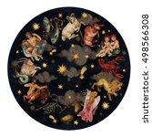 zodiac circle   complete set of ... | Shutterstock . vector #498566308