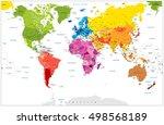 detailed world map spot colored ... | Shutterstock .eps vector #498568189