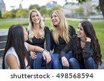a four young good girl friend...   Shutterstock . vector #498568594