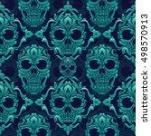ornamental skull seamless... | Shutterstock .eps vector #498570913
