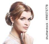 beauty elegant bride portrait... | Shutterstock . vector #498573778