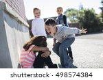 sad moment elementary age...   Shutterstock . vector #498574384