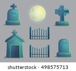 a collection of items spooky... | Shutterstock .eps vector #498575713
