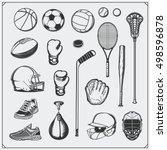 set of sport equipment. soccer  ... | Shutterstock .eps vector #498596878