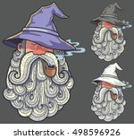 Portrait of wizard smoking pipe in 3 color versions.