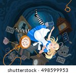 alice is falling down into the... | Shutterstock .eps vector #498599953