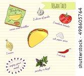 hand drawn vegan recipe card... | Shutterstock .eps vector #498605764