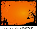 horizontal halloween element... | Shutterstock .eps vector #498617458