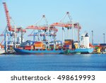 container stack and ship under...   Shutterstock . vector #498619993