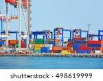 port cargo crane and container... | Shutterstock . vector #498619999