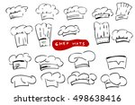 set of sketch chef hats ... | Shutterstock . vector #498638416