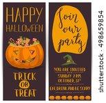 vintage halloween party flyers... | Shutterstock .eps vector #498659854