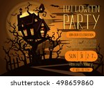 halloween party invitation with ...   Shutterstock .eps vector #498659860