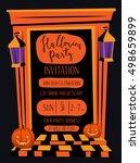 halloween night party...   Shutterstock .eps vector #498659899