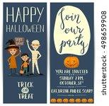 halloween party vertical flyers ... | Shutterstock .eps vector #498659908