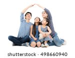 asian family smiling and... | Shutterstock . vector #498660940