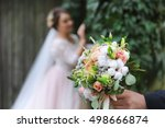 young wedding couple. groom and ... | Shutterstock . vector #498666874