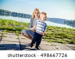 young mother playing with baby... | Shutterstock . vector #498667726