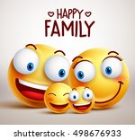 happy family smiley face vector ... | Shutterstock .eps vector #498676933