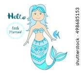 hand drawn little mermaid... | Shutterstock .eps vector #498685153