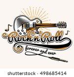 rock and roll guitar music... | Shutterstock .eps vector #498685414