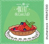 tartlet with blue berries and... | Shutterstock .eps vector #498692500