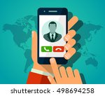 vector concept incoming call.... | Shutterstock .eps vector #498694258