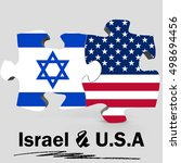 usa and israel flags in puzzle... | Shutterstock . vector #498694456