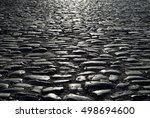 black cobbled stone road... | Shutterstock . vector #498694600