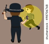 thief caught on police torch... | Shutterstock .eps vector #498706768