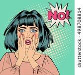 pop art shocked woman with... | Shutterstock . vector #498708814