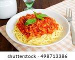 spaghetti with minced pork... | Shutterstock . vector #498713386
