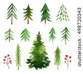 watercolor christmas trees... | Shutterstock . vector #498720343