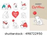 hand drawn cute polar bears.... | Shutterstock .eps vector #498722950