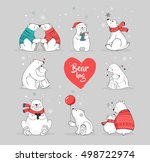 hand drawn polar bear  cute... | Shutterstock .eps vector #498722974
