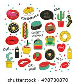 vector trendy patch badges with ... | Shutterstock .eps vector #498730870