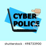 cyber police handcuffs vector... | Shutterstock .eps vector #498733900