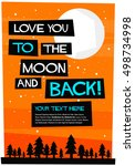 i love you to the moon and back ... | Shutterstock .eps vector #498734998