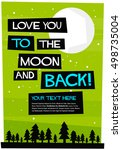 i love you to the moon and back ... | Shutterstock .eps vector #498735004