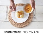 this is photo of chef preparing ... | Shutterstock . vector #498747178