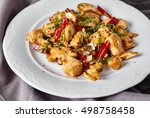 Kung Pao Chicken In White Plat...