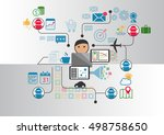 person in front of notebook who ... | Shutterstock .eps vector #498758650