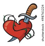 vector tattoo heart pierced...   Shutterstock .eps vector #498761224