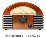 A radio right out of the 60's with art deco styling, isolated on white. - stock photo