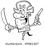 pirate brandishing sword and... | Shutterstock .eps vector #49881307