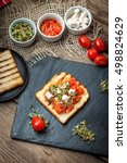 grilled toasted bread with...   Shutterstock . vector #498824629