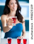 young woman bartender holding... | Shutterstock . vector #498825109