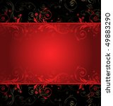 Vector Black And Red Floral...
