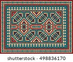 colorful mosaic kilim rug with... | Shutterstock .eps vector #498836170