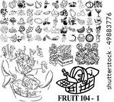 fruit set of black sketch. part ... | Shutterstock .eps vector #49883776